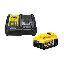 toptopdeal DEWALT DCB184 5-0ah 18v XR Lithium Ion Battery - DCB115 Charger-Yellow