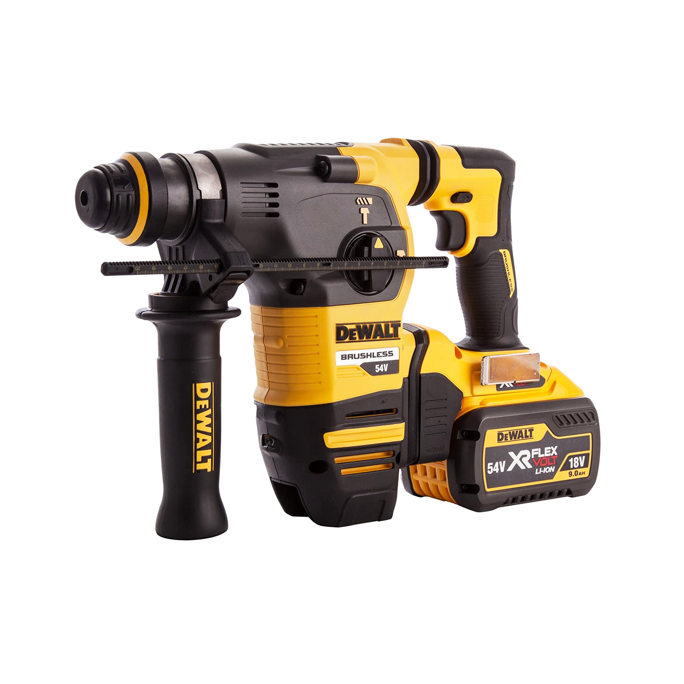 toptopdeal-Dewalt DCH333X2-GB TL19788 Flex Volt SDS Brushless 3 Mode Rotary Hammer in TSTAK Box 54 V Yellow Black 355 mm 14-Inch Set of 7 Pieces