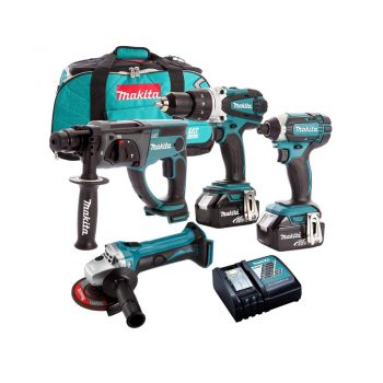 toptopdeal-Makita 4 Piece 18V Li-ion with 2 x 5 0Ah Batteries & Charger in Bag