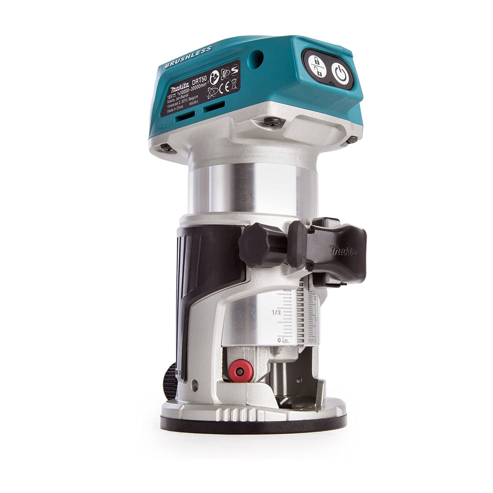 toptopdeal Makita Push Button with Lock On-Off DRT50ZJX3 Router Trimmer- 18 V- Blue