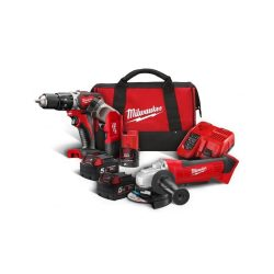 toptopdeal-Milwaukee M18BSET2A-513B Compact Percussion Drill and Angle Grinder Kit with Batteries, Bag, Charger & Torch