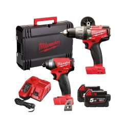 toptopdeal-Milwaukee M18FPP2A-502X Fuel Twin Pack FPD Percussion Drill, M18 FID Impact Driver,