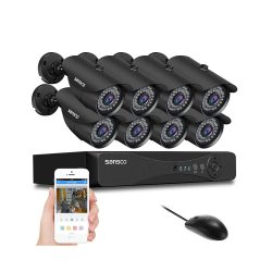 toptopdeal-SANSCO 1080p FHD CCTV Surveillance Camera System, Smart 8 Channel DVR and (8) HD 2 MP Indoor Outdoor Bullet Cameras
