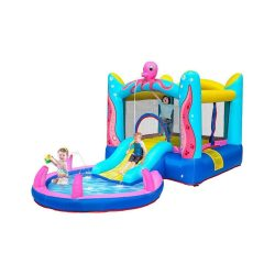 toptopdeal uk Childrens Inflatable Castle, Bouncy Bounce House, House Splash Pool, Water Slide Bouncer Indoo
