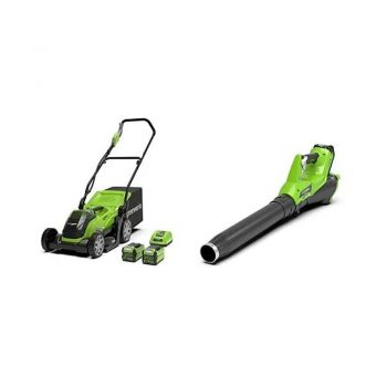 toptopdeal uk Greenworks Lawnmower G40LM35 and Leaf Blower