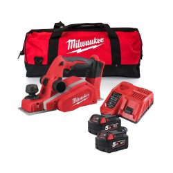 toptopdeal uk Milwaukee M18BP-0 18V Li-Ion 82mm Planer with 2 x 5Ah Batteries & Charger