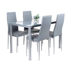 toptopdeal Dining Table and Chairs Set 4, Glass Kitchen Table and 4 Faux Leather Foam High Back Padded Chairs Modern Furniture Sets for Dining Room, Kitchen, Office, Lounge, Grey