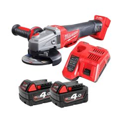 toptopdeal Milwaukee M18CAG115XPDB 18v Angle Grinder 115mm with 2 x 4Ah Batteries & Charger