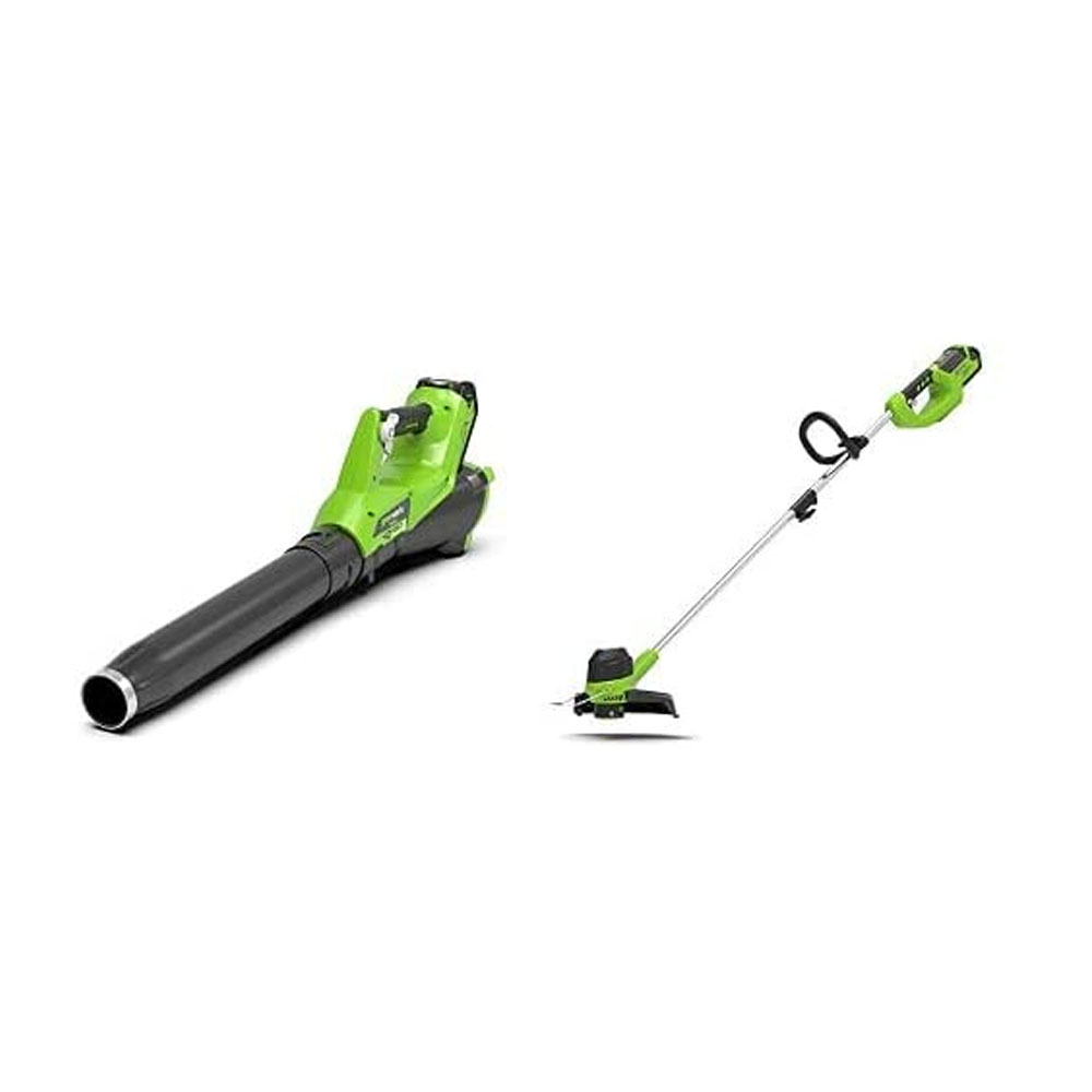 toptopdeal Greenworks Battery-Powered Lawn Trimmer G40LT and Leaf Vacuum & Leaf Blower