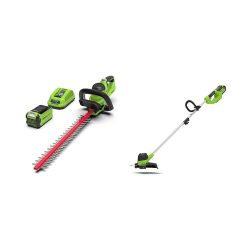 toptopdeal Greenworks Cordless String Trimmer G40LT & Cordless Hedge Trimmer