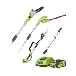 toptopdeal Greenworks Tools Battery Tall Scale and Telescopic Hedge Trimmer