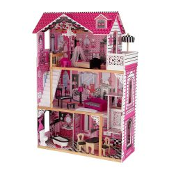 toptopdeal KidKraft 65093 Amelia Wooden Dolls House with Furniture and Accessories