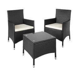toptopdeal TecTake Aluminium Poly Rattan garden furniture wicker set with glass table