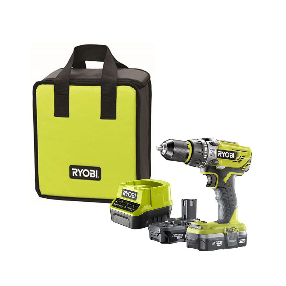 toptopdeal uk Ryobi R18PD31-213S Combi Drill, 18 V, Hyper Green, With 2 x 1