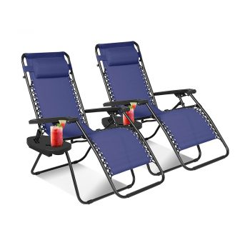 toptopdeal KEPLIN Set of 2 Heavy Duty Textoline Zero Gravity Chairs | Garden Outdoor Patio Sun Loungers | Folding Reclining Chairs | Lounger Deck Chairs (NAVY)