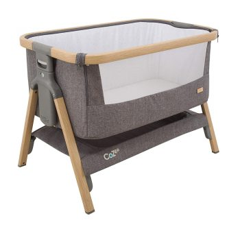 toptopdeal Tutti Bambini CoZee® Bedside Crib/Co-Sleeper with Breathable Mesh Window, Travel Bag and Easy Fold (Oak and Charcoal)