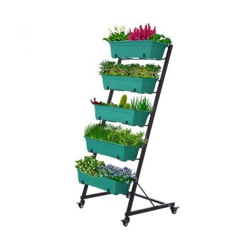 toptopdeal Vertical Garden Freestanding Elevated Planter with 5 Container Boxes - Good for Patio or Balcony Indoor and Outdoor - Cascading Water Drainage (WCXT)