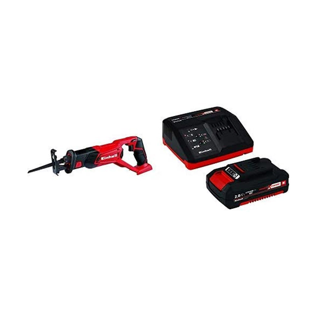 toptopdeal Einhell TE-AP 18 Li Solo Power X-Change 18 V Lithium Cordless Reciprocating Saw + Battery and Charger Starter Kit with 1 x 2 A Li-Ion, 18 V - Red