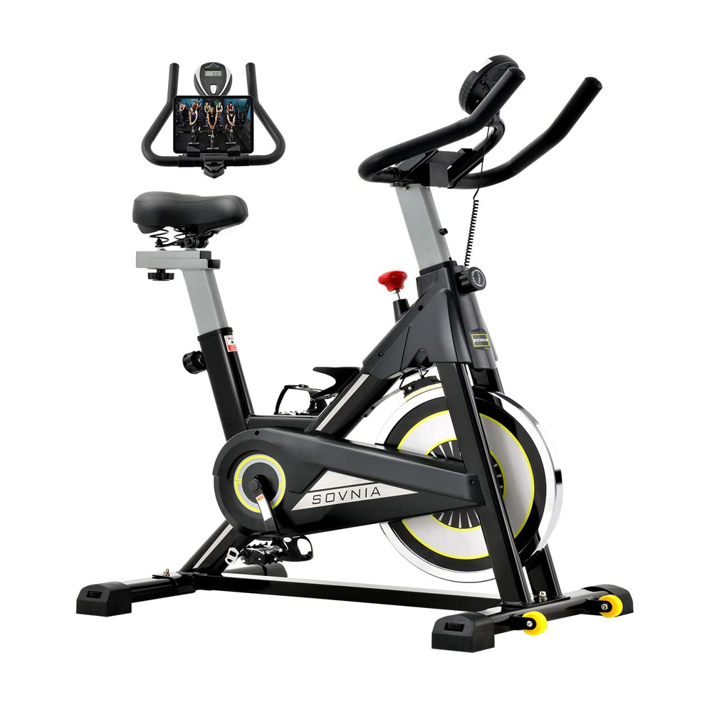 toptopdeal Exercise Bike, SOVNIA Stationary Bikes, Fitness Bike with iPad Holder, LCD Monitor and Comfortable Seat Cushion, Whisper Quiet Indoor Cycling Bikes Perfect for Home Gym Workout