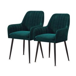 toptopdeal HYRGLIZI Kitchen Chairs Velvet Dining Chairs, Set Kitchen Counter Chairs Room Corner Chairs Reception Chairs With Backrest And Armchair Metal Legs Non-slip...