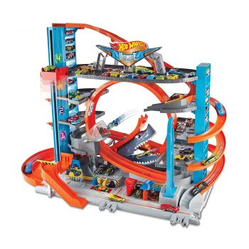 toptopdeal Hot Wheels FTB69 City Garage with Loops and Shark, Connectable Play Set with 2 Diecast and Mini Toy Car [Amazon Exclusive]