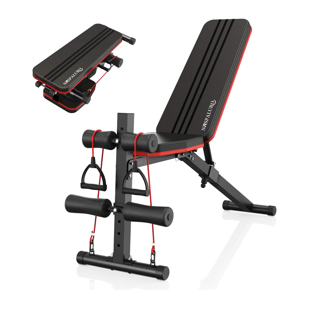 toptopdeal naspaluro Weight Bench Adjustable, Full Body Exercise Folding Fitness Workout Bench with 7 Positions, Exercise Bench for Weight Lifting & Sit Up Abdominal Supine Board Flat Home Gym