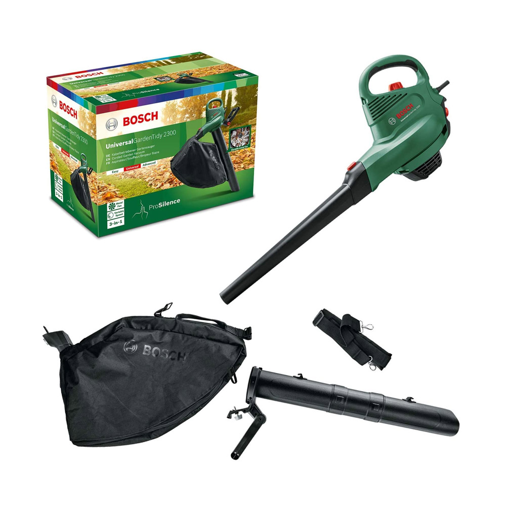toptopdeal Bosch Electric Leaf Blower and Vacuum UniversalGardenTidy 2300 (2300 W, collection bag 45 l, variable Speed, for blowing, vacuuming and shredding leaves, in...