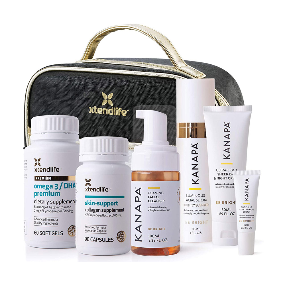 toptopdeal Xtend-Life Eternal Beauty Collection Skin Care Nutrition Supplements + Natural Skincare Cleanser & Toner Set w/Free Bag - Complete Skin Pamper Kit Products w/Omega 3 & Collagen Supplement Bundle