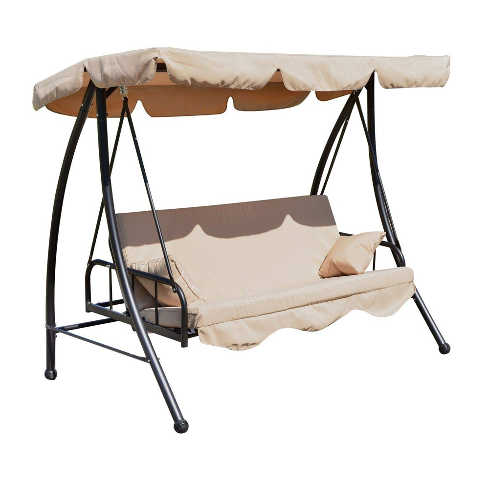 toptopdeal Outsunny Outdoor 2-in-1 Patio Swing Chair Lounger 3 Seater Garden Bench Hammock Bed Convertible Tilt Canopy W/Cushion, Beige