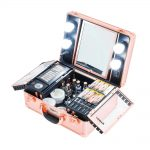toptopdeal Kemier Makeup Train Case - Cosmetic Organizer Box Makeup Case with Lights and Mirror/Makeup Case with Customized Dividers/Large Makeup Artist Organizer Kit (Rose Gold)
