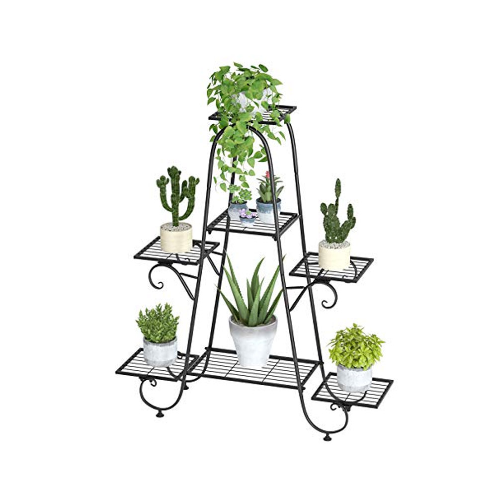 toptopdeal ZXCVB 5 Tier Metal Plant Stand, Plant Pot Holder, Garden Planter Storage Organizer,Tall Flower Shelf,for Garden, Balcony And Living Room Outdoor Indoor,112x71x35cm(44.1x27.9x13.7in),Yellow