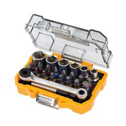 toptopdeal Dewalt DT71516-QZ 24 Piece High Performance Socket and Screwdriving Set (DT71516); long-living sockets; (24 pieces); with case