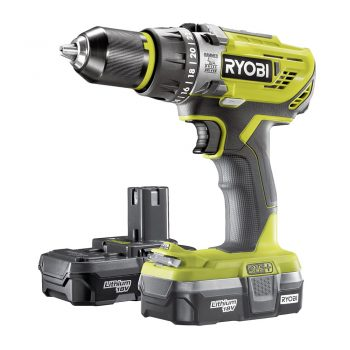 toptopdeal uk Ryobi R18PD31-213S One Plus Cordless Compact Percussion Drill Starter Kit, 18 V, Hyper Green
