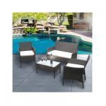 toptodeal-Daily Accessories Rattan Garden Chairs Table Set Black Outdoor Rectangular Patio Furniture Sets