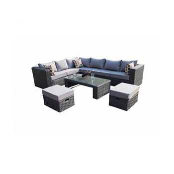 toptopdeal Abreo Grey 4 Seater Garden Rattan Furniture Sofa Armchair Set with Coffee Table Wicker Weave Conservatory (Mixed Grey with Dark Cushions) INCLUDES OUTDOOR WATERPROOF COVER
