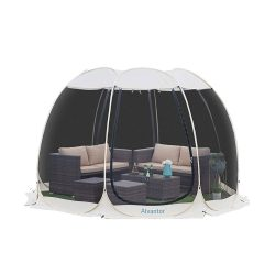 toptopdeal Alvantor Pop Up Gazebo Screen House, 4-6 Person Instant Mosquito Netting Camping Dome Shelter Tent, UV Resistant Sun Shelter Canopy Event Tent for Party, Garden, Patio, Backyard (10'x10', Beige)