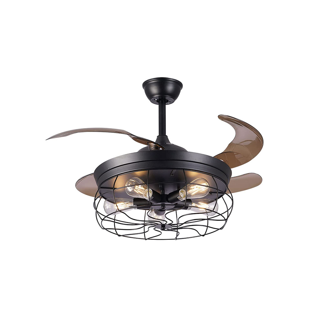 toptopdeal-JFF 48-Inch Vintage Retractable Ceiling Fans with Remote And Light