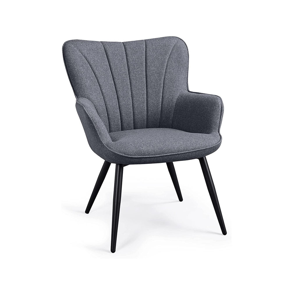 toptopdeal-Yaheetech Modern Fabric Accent Chair Scalloped Armchair Sofa Lounge Tub Chair Cushioned